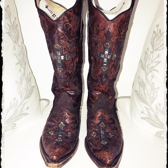 65eb7e74e1f CORRAL Vintage Python Crystal Cross Cowboy Boots